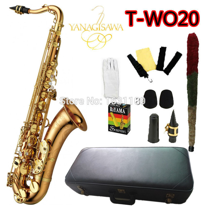 Brand NEW YANAGISAWA Tenor Saxophone T-WO20 Bb Gold Laquer Professional Sax Mouthpiece With Case and Accessories bb f tenor trombone lacquer brass body with plastic case and mouthpiece musical instruments