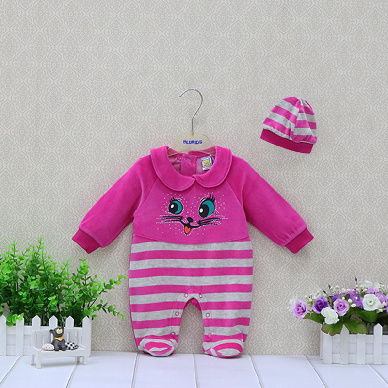 Baby Rompers+Hat 2 Pieces/set Girls Clothing Newborn Clothes Long Sleeve Cute Kids Sleepwear цена