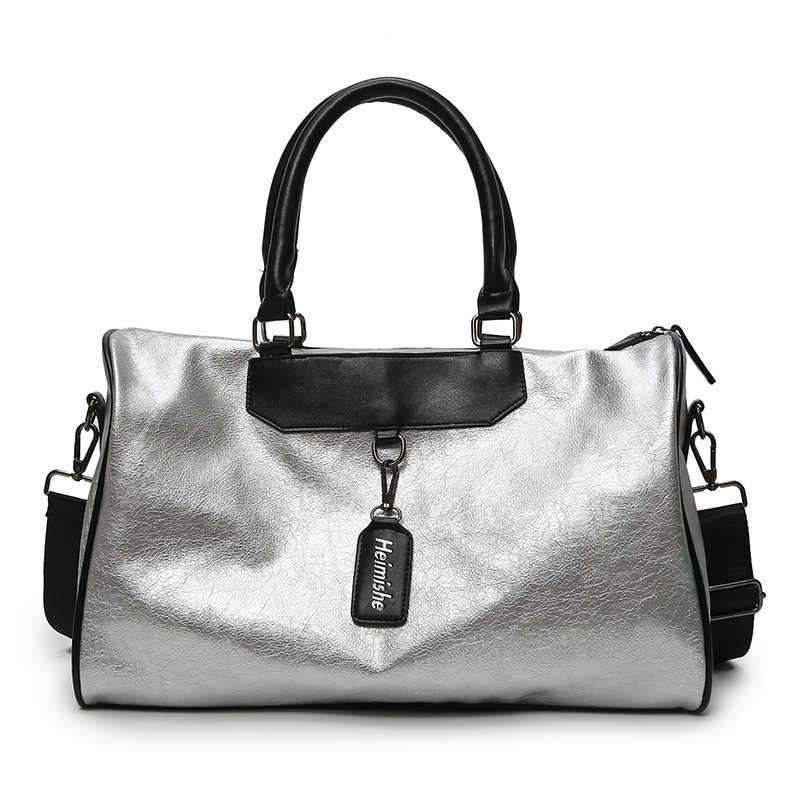 2aacbec9ffe2 ... Женские дорожные Сумки из искусственной кожи Корейская версия большой  мешок повседневное сумки легкий фитнес тенденция диких