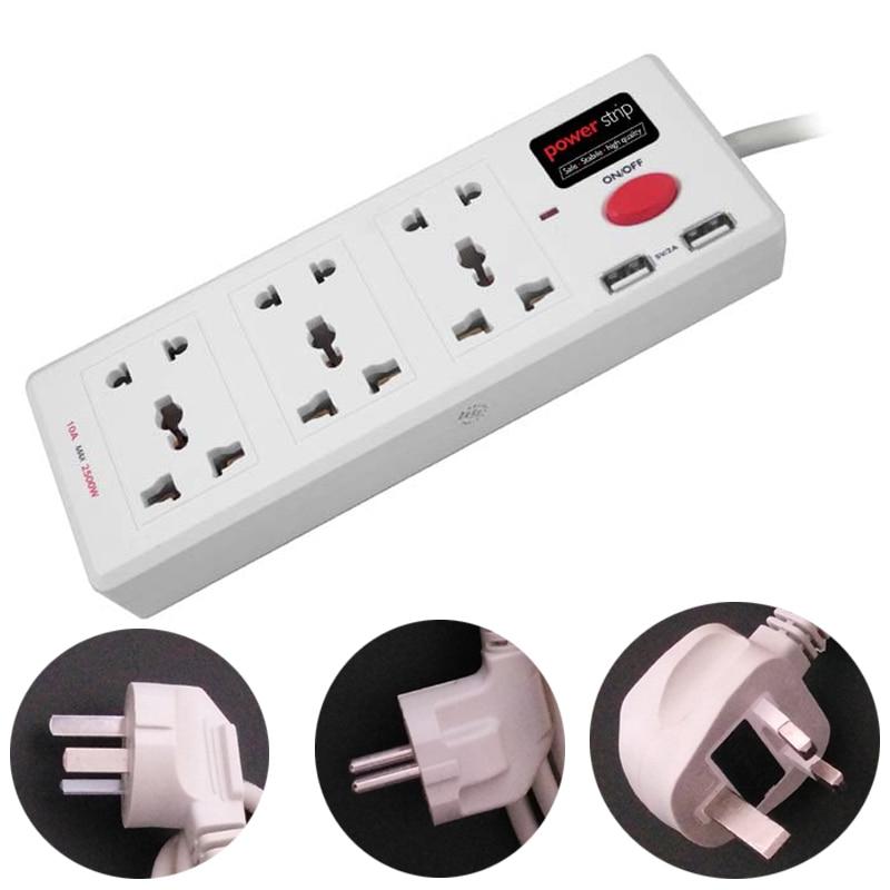 6 Plug Extension : Universal ac extension wall socket plug usb with