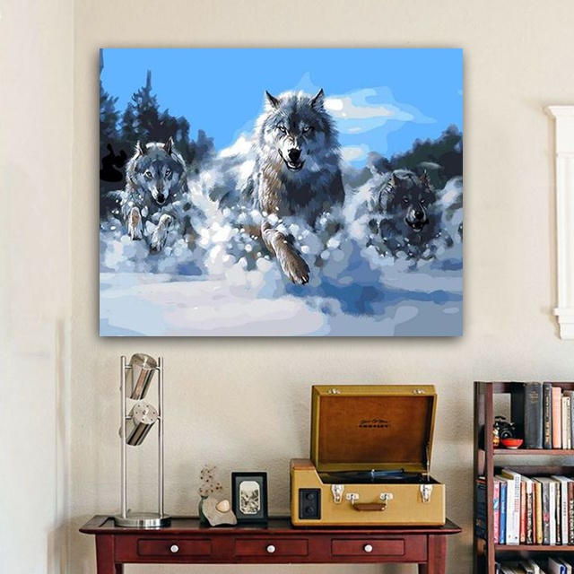 Painting By Numbers Art Paint By Number Diy White Snow, Fierce Wolf Abstract Animal Violence Aesthetics On Canvas