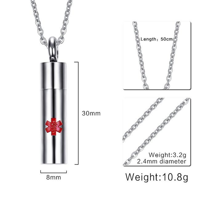 Online Shop Men Red Medical Alert Symbol Necklace With Open Cylinder