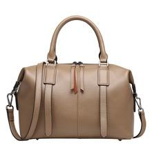 2016 Genuine Leather Women Boston Handbag Luxury Fashion Leisure Shoulder Bag Lady Commute OL Tote Pillow Bags Messenger Bags