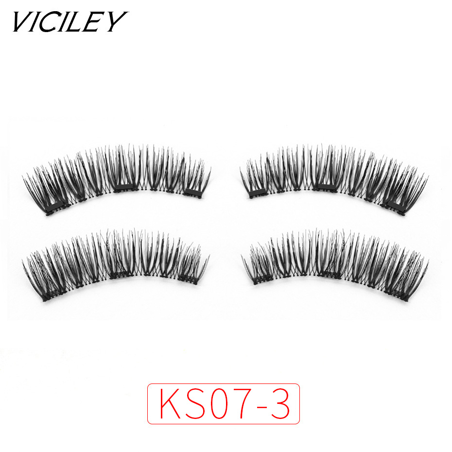 VICILEY 3 Magnets 3D Magnetic Eyelashes Natural Long Magnetic False Eyelash Handmake Magnet Eye Lashes Makeup Kit Gift KS07-3
