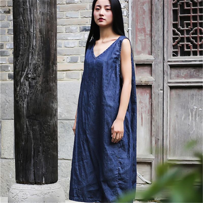 Qaturalan Women Vinage Denim Dress Sleeveless V-Neck Overalls Jeans Dresses Vestidos Sundress Famale Solid A-line Vestidos