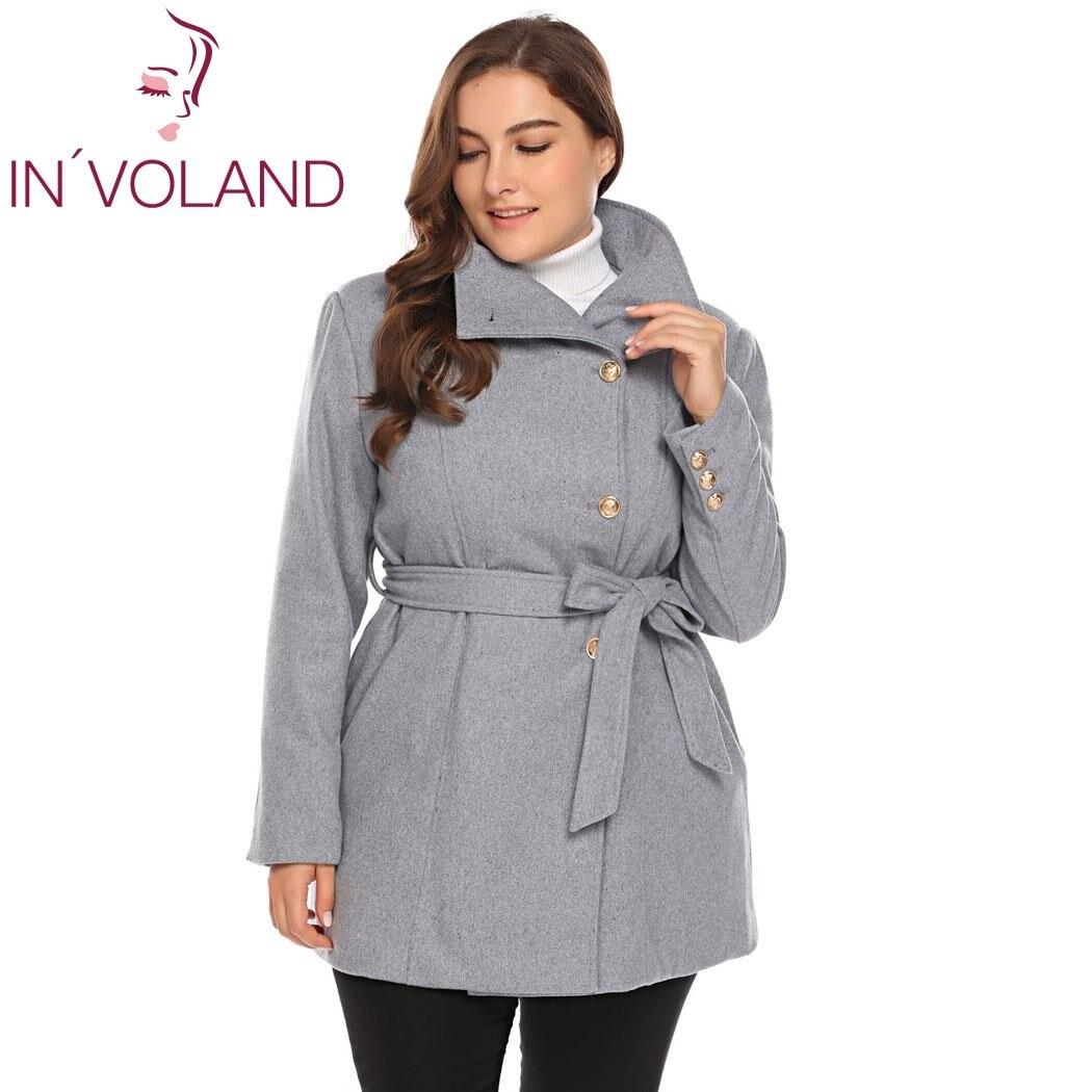 Kobiety Plus rozmiar L 5XL wełna mieszanka płaszcz dorywczo ciepłe zimowe klapy z długim rękawem z paskiem Slim stałe duże płaszcz Trench Coat oversize w Wełna i mieszanki od Odzież damska na  Grupa 1
