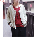 Women Vintage Chinese Cloth Plate Buttons Linen Natural Yoga T-shirt Elegant Casual Blouse Top