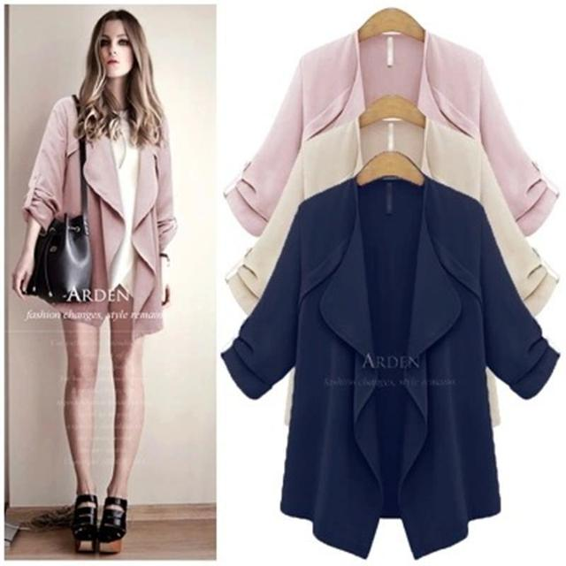 Free Shipping Women Coat 2015  New Autumn Solid Long Sleeve Open Stitch Cardigan Trench Coat Casaco Feminino Plus Size XL-5XL