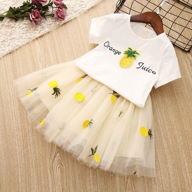 2019 New Summer Girls Clothes White Pineapple T-shirt Tutu Skirts Children Clothing Set Fashion 3 4 5 6 7 8 Year Kids Suits