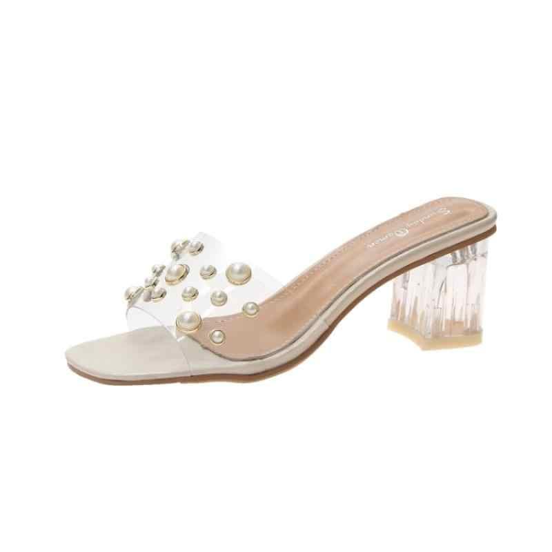 Модные прозрачные шлепанцы на застежке из ПВХ; женские перламутровые украшения; цвет черный, бежевый; шлепанцы на высоком прозрачном каблуке; Летняя женская обувь