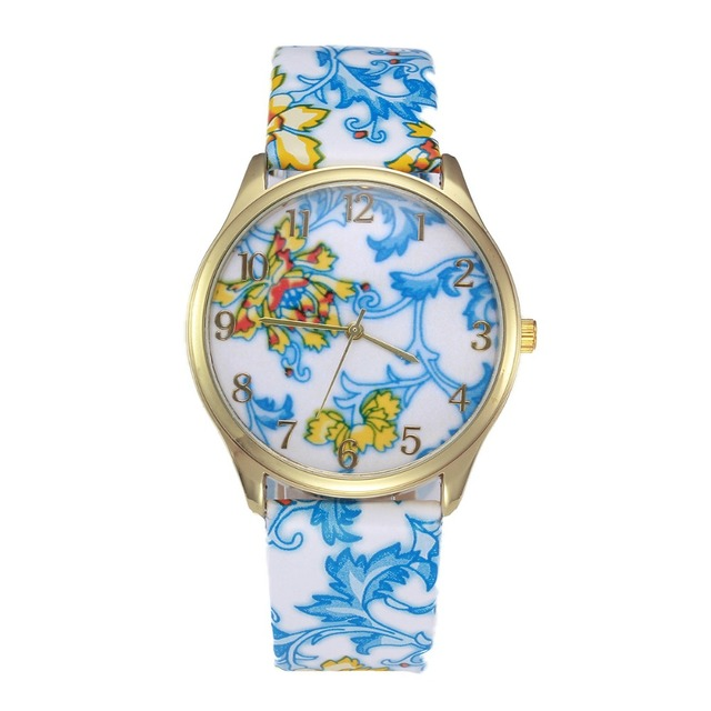 Big Clearance Sale Elegant Blue And White Porcelain Watch Fancy Watches Fashion Leather Flower Woman Dress Wristwatch