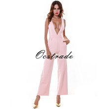 Free Shipping 2017 HOT SUMMER NEW STYLE BLUSH DEEP V WIDE LEG ROMPERS WOMEN SEXY BODYCON JUMPSUIT NIGHT CLUB WHITE BLACK