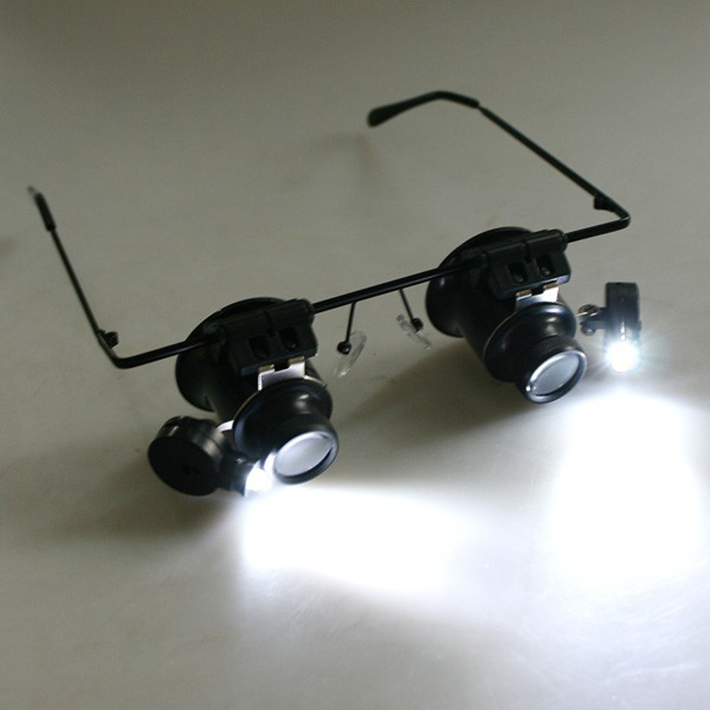 2 LED-es nagyító szemüveg-lupa nagyító ékszer-órával, - Mérőműszerek - Fénykép 1