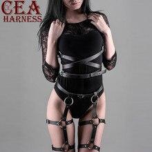 CEA. Комплект из 2 предметов, ремни для подвязок, сексуальный женский пояс, бандаж для ног, клетка, ремни, бюстгальтер, подвязки, ремни для тела, грудь