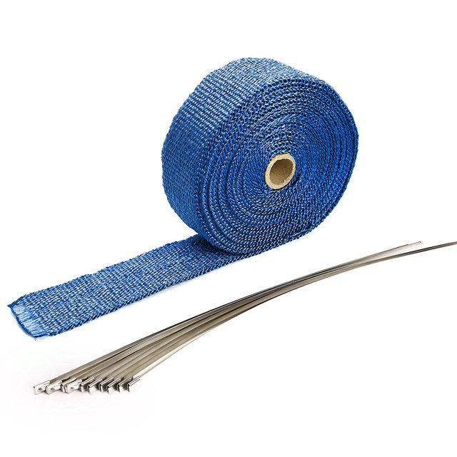 Thermal insulating tape collector Motorcycle exhaust pipe insulation tape  Fiberglass tape Length 10M blue-in Exhaust & Exhaust Systems from