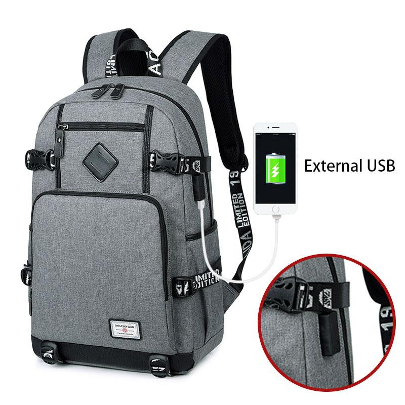 2018 New School Bag USB Charging Oxford Cloth Backpack Men Wear Canvas Computer Backpack Middle School Student Bag
