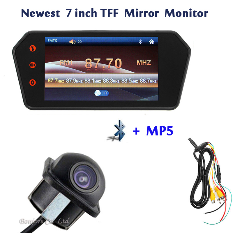 Newest 7 inch TFT Color Mirror 1080 p LCD Car Rearview Screen Monitor Auto Backup Camera Parking cam With 2 Video Input