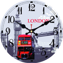 WONZOM Double-decker Bus Design Wall Clock For Home Decor, Art Large Watch, No Ticking Sound, Creative Decoration