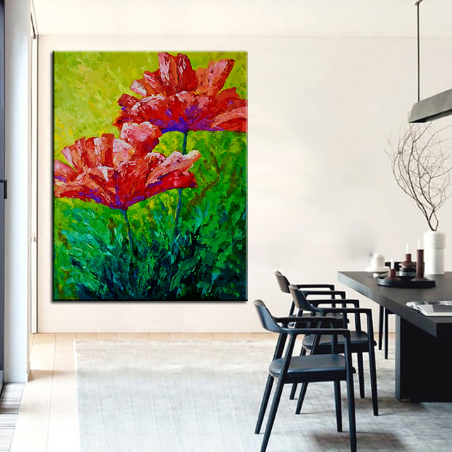 Large size Printing Oil Painting two red poppies Wall painting ...