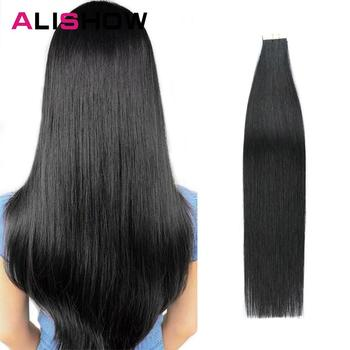 Alishow Tape In Remy Human Hair Extensions Double Drawn  Hair Straight Invisible Skin Weft PU Tape On Hair Extensions 24 9 hair holder drawing mat for use with the application of hair extensions drawing card skin pad with needles