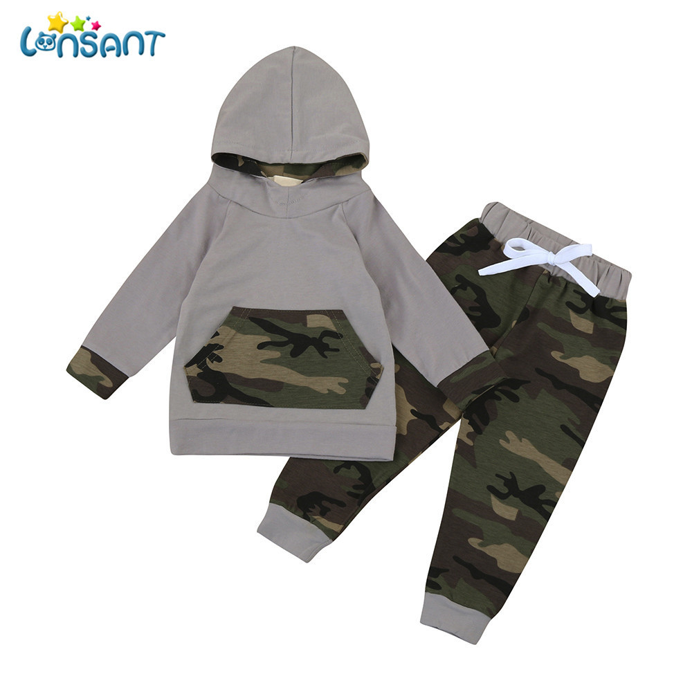 LONSANT Camouflage Baby Boy 2pcs Toddler Clothes Set Camouflage Hoodie Newborn Baby Suit Boy Clothing Tops+Pants Outfits 2018 casual toddler baby boy clothes set short sleeve t shirts tops camouflage pants 2pcs outfits roupas infantis menina 10 12
