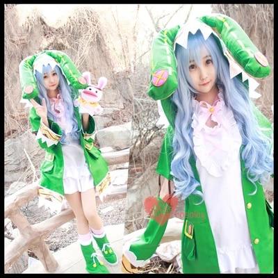 [Archivio] Anime! data Un Live Yoshino Verde Elfo Cosplay Costume Femminile panno + calzini + scarpe + puppet + parrucche Spedizione Gratuita