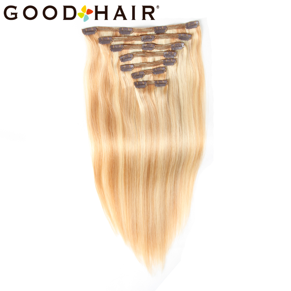 GOOD HAIR Straight Clip In Human Hair Extensions Қара - Адам шашы (ақ) - фото 1