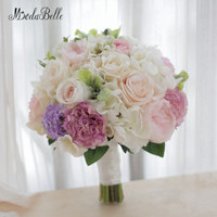 Modabelle מותאם אישית-high-end ורוד שנהב חתונת כלה מחזיק זר פרחים זר מלאכותי ורדים אדמונית הידראנגאה בעבודת יד 2018
