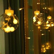 Светодиодный светильник-гирлянда из медной проволоки, звездная занавеска, сказочное освещение для наружной свадьбы, Рождественское украшение, 220 В, штепсельная вилка европейского стандарта