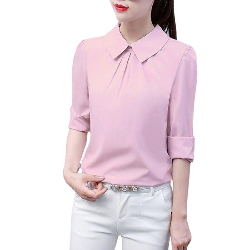 Women Casual Tops   Blouses   Turn-Down Collar Long Sleeves White Elegant   Blouse     Shirt