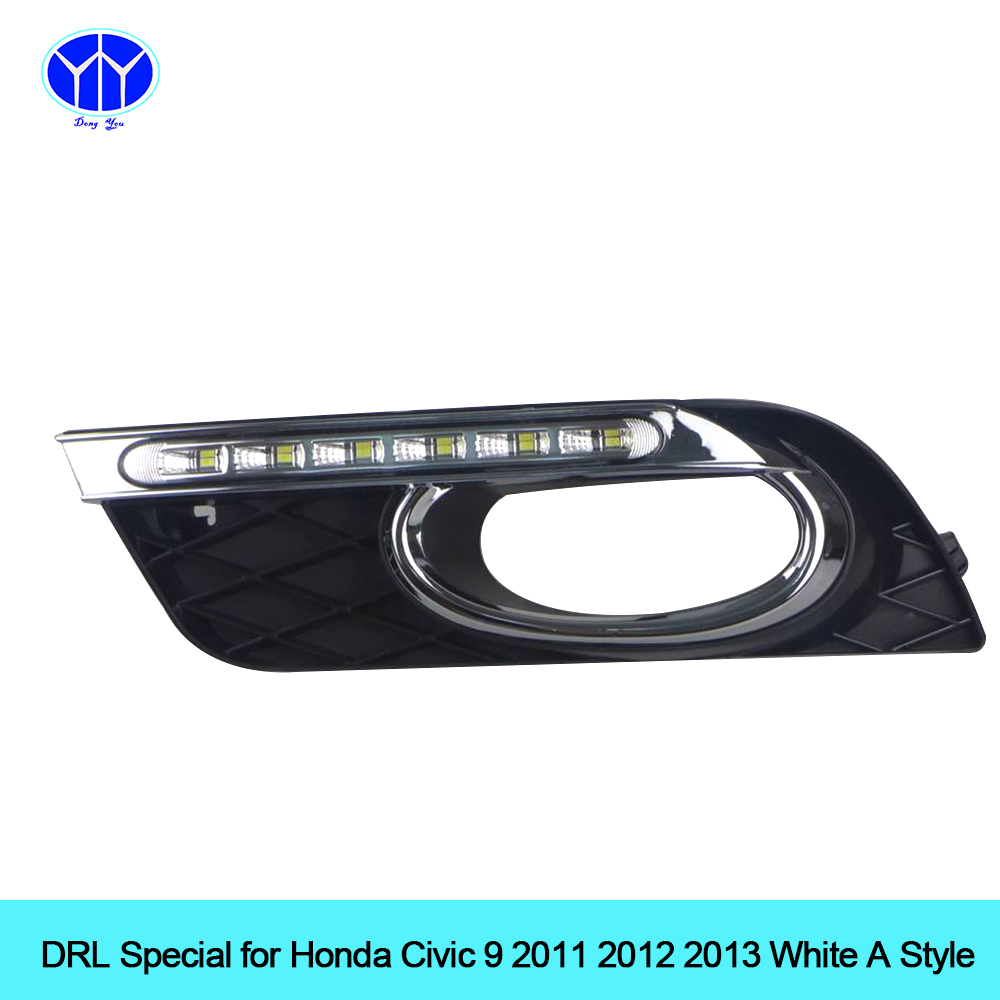 Car DRL kit for Honda Civic 9 2011 2012  2013 LED Daytime Running Light bar Super bright fog auto lamp daylight car led drl 12v car drl kit for audi a4 l b8 2009 2012 led daytime running light bar super bright auto fog lamp daylight for car led drl light