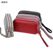 AOEO women wallets genuine leather red wristlet lady purse long with 3 zipper phone bag high capcaticy Clutch bags Female wallet