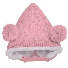 Ребенка Шляпу Двойной Шар Конопли Цветы Новорожденный Шапка Супер Мягкий Шерсть Шляпа Для Детей Зимой Толстые Теплую Шапку