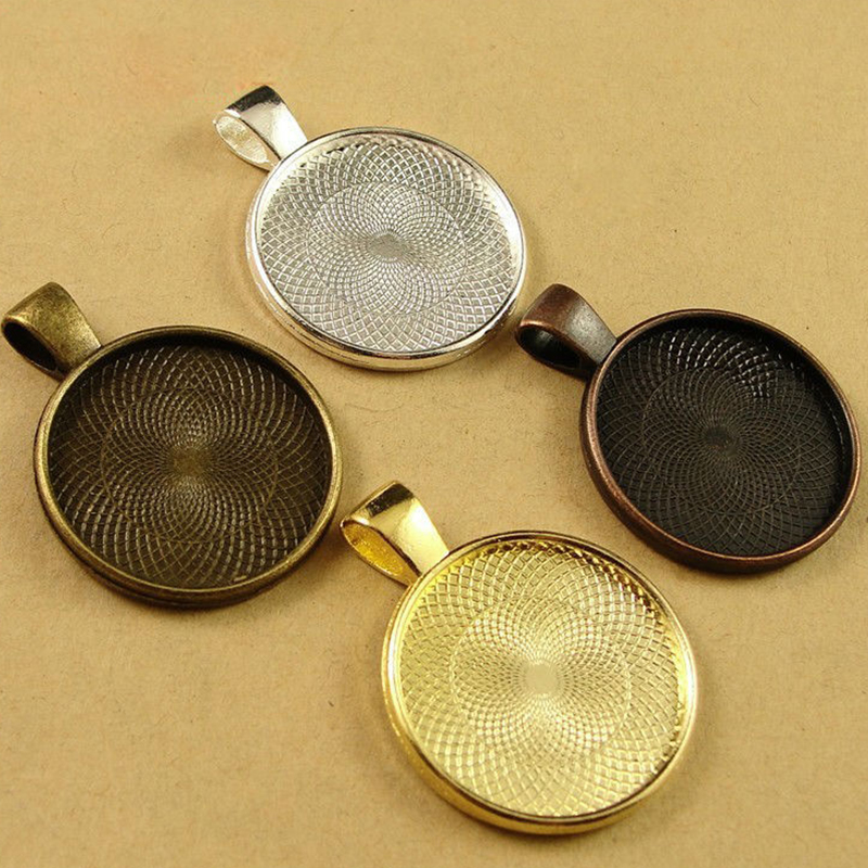 10pcs Multi Colors 20mm Necklace Pendant Setting Cabochon Cameo Base Tray Bezel Blank Fit Cabochons Jewelry Making Findings