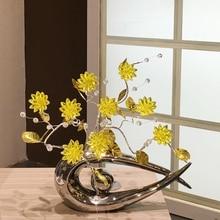 цена на Fashion Crystal flower Crafts Modern Home decoration bird figure statues ceramic flower vase handicraft Crafts wedding gifts