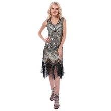 여성 파티 드레스 1920 년대 그레이트 개츠비 플래퍼 vestidos 스팽글 구슬 프린지 드레스 저녁 장식 드리 워진 민소매 드레스