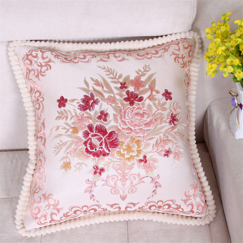 48*48cm European Style Embroidery Flowers Pillowcase Cushion Cover Office Car Sofa Chair Seat Home Decoration