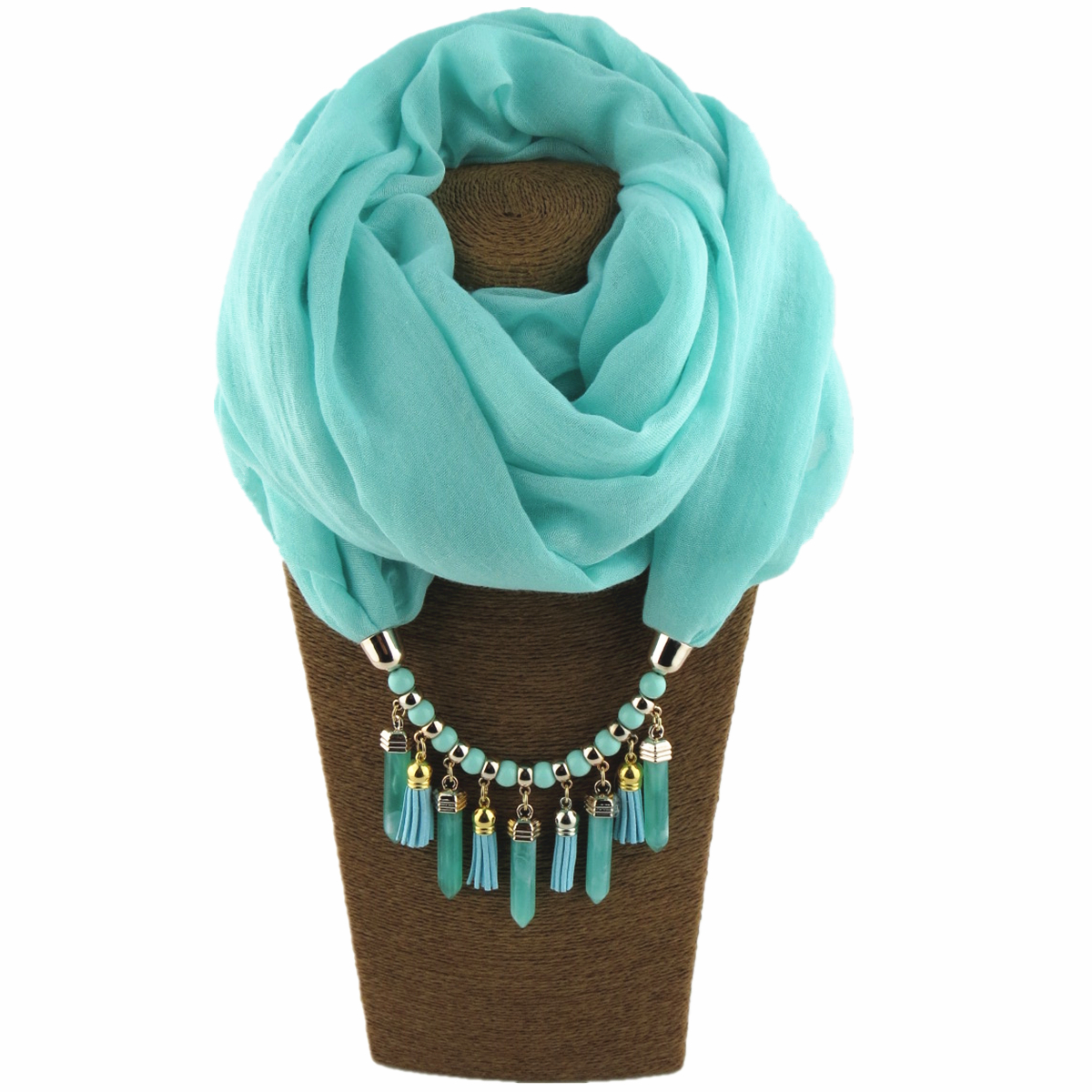 Fashionable Young Women Four Seasons Elegant Design Style Solid Ring Resin Beads Pendant Scarf Jewelry Scarf Free Shipping