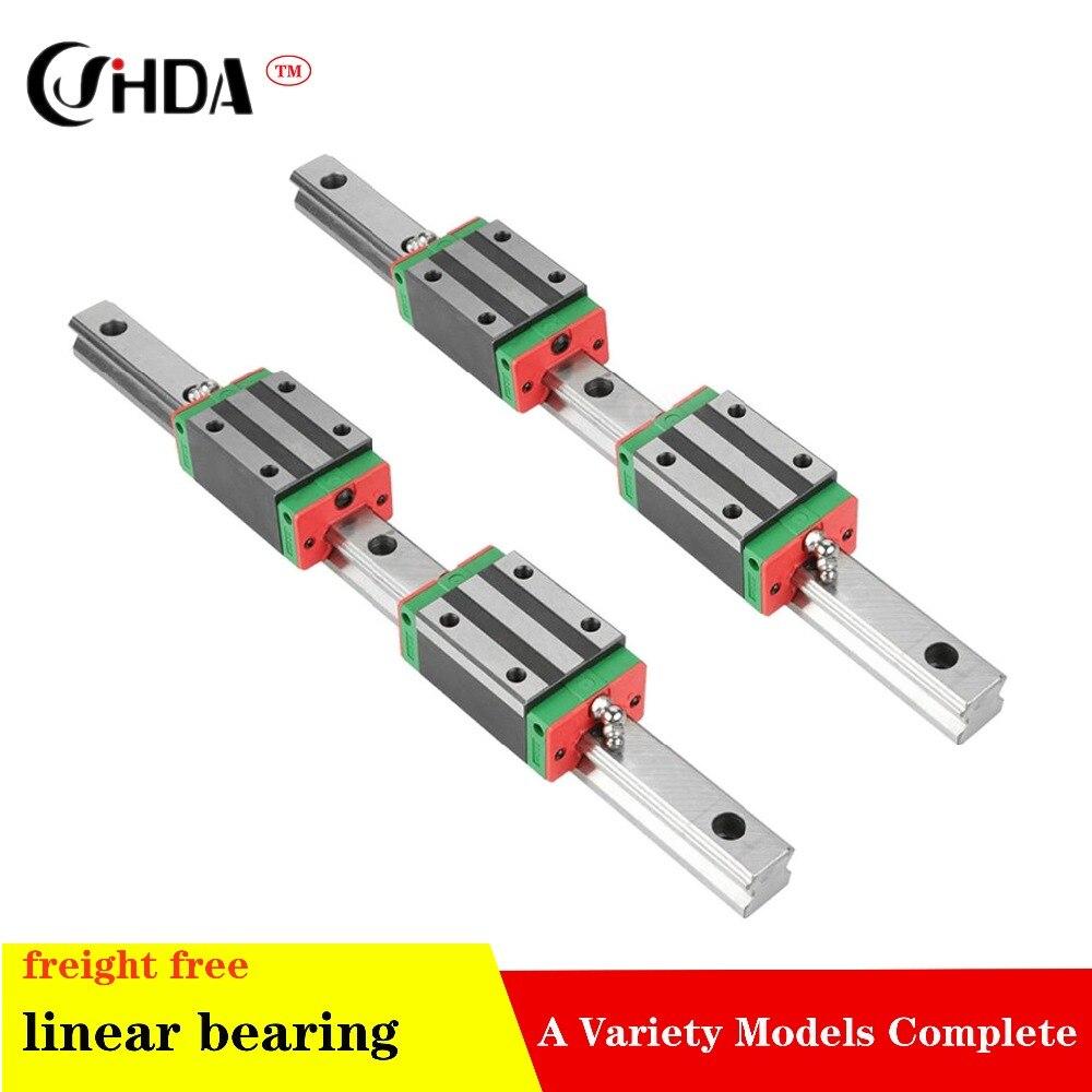 Livraison gratuite 2pcs rail linéaire + 4 pièces HGH20CA rails de guidage linéaire bloc pièces de CNC