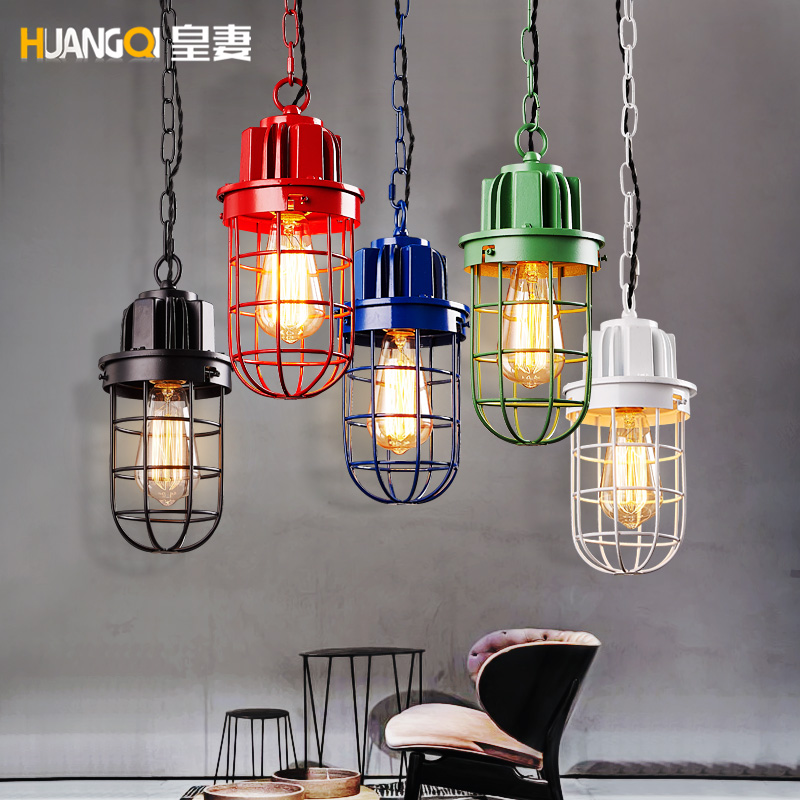 Simple Industrial Vintage Wrought Iron Bar Counter Cafe Sitting Room Dining-room Single Head Droplight