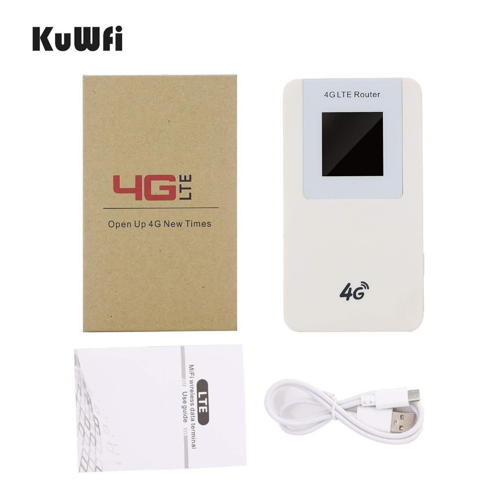Image 5 - KuWfi Unlocked 4G LTE Wireless Router MiFi  4600mAh Power Bank WIFI Router Portable Wireless Modem With SIM Card Slot-in 3G/4G Routers from Computer & Office