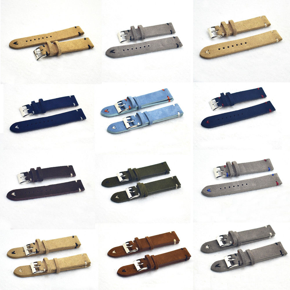 Onthelevel Handmade Velvet Suede Watch Strap High Quality Watch Band 18mm 20mm 22mm 24mm Black Gray Brown Strap #C