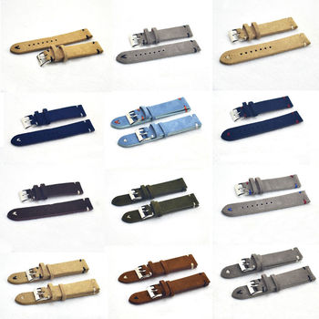 Onthelevel Handmade Velvet Suede Watch Strap High Quality Watch Band 18mm 20mm 22mm 24mm Black Gray Brown Strap #C handmade leather comfort gray suede strap 18mm 20mm 22mm stainless steel buckle high quality red blue line 2018 new