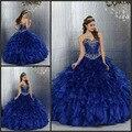 Azul real Vestidos de Quinceañera Balón vestido 2016 Vestido De Debutante Festa de 15 Años Crystal Dulce 16 Vestidos de Volantes 15 años
