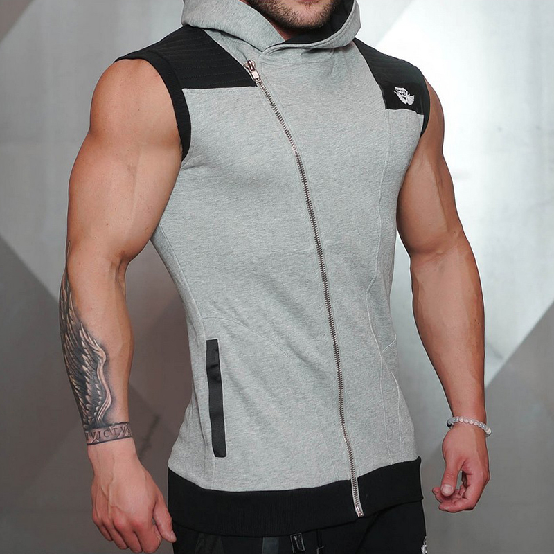 Homme sans manches Slim Zipper sweat sweat à capuche Fitness gymnases sport décontracté veste manteau hauts