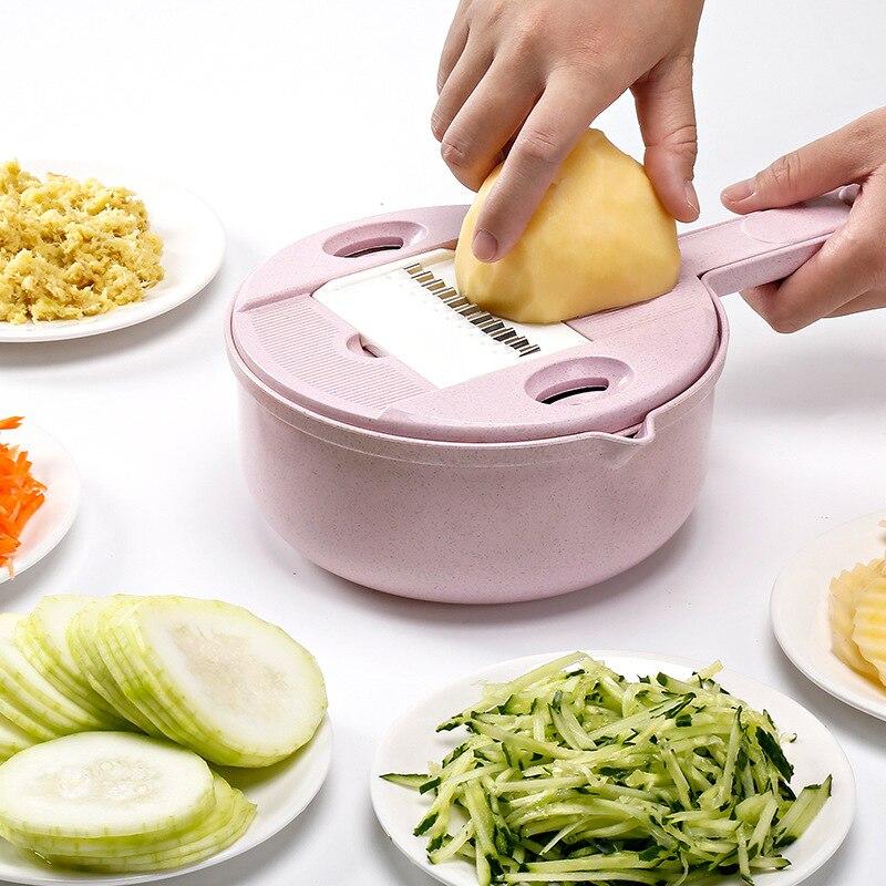 10 Teile/satz Gemüse Slicer Weizen Stroh Manuelle Cutter Kartoffel Karotte Cutter Knoblauch Reibe Obst Slicer Mit Sieb Küche Werkzeug