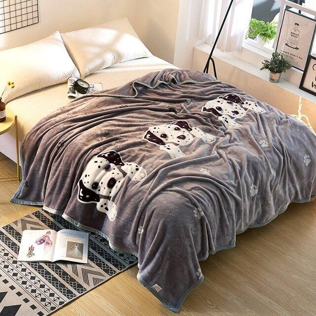 Home Textiles Cartoon Dog Blanket Solid Air Sofa Bedding Flannel Winter Warm Mattress