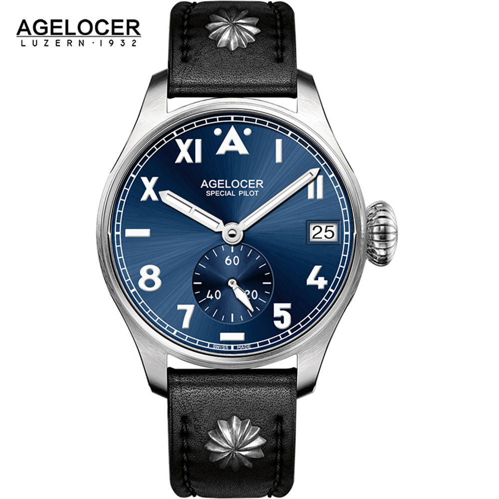 Agelocer Tritium Gas Luminous Watch Business Men's Watch Luxury Simple Men Watch Male 316L Steel Retro Military watches yelang v1015 upgrade version khaki number tritium gas yellow luminous men automatic mechanical business watch steel watchband