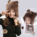 new arrival winter mother kids faux fur bomber hats ear protection warm winter super cute christmas animal cartoon bear ears hat
