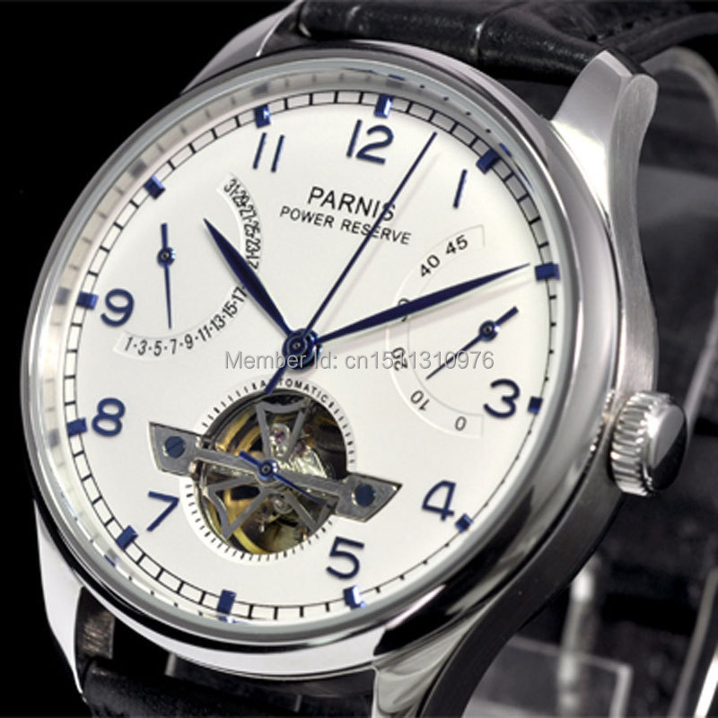 parnis white dial power reserve ST movement date automatic mens watch 13AU st 2533 gmt date power reserve automatic mechanical movement m9